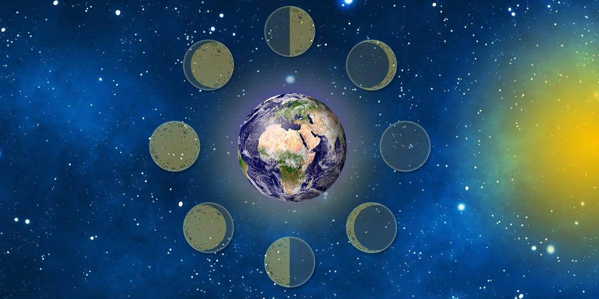 Položaj luninih men, polna luna - ščip, prvi krajec, zadnji krajec, prazna luna - mlaj.